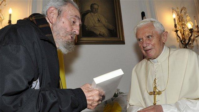 (28 mars 2012) Rencontre du pape Benoît XVI et de Fidel Castro à Cuba.