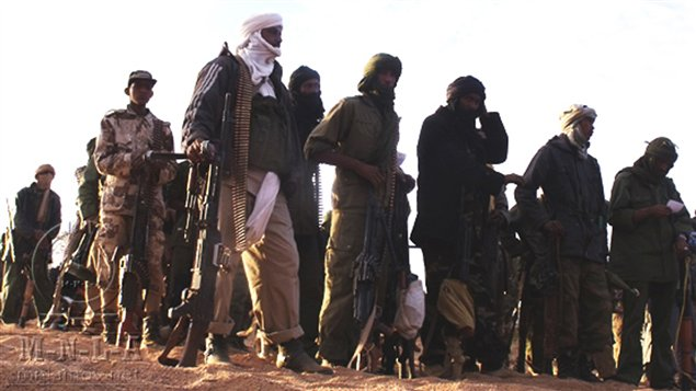Des membres du Mouvement national pour la libération de l'Azawad (MNLA) en février 2012.