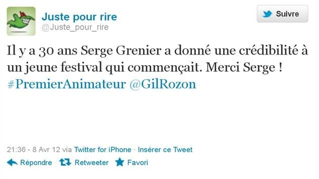 JPR rend hommage à Serge Grenier sur Twitter.