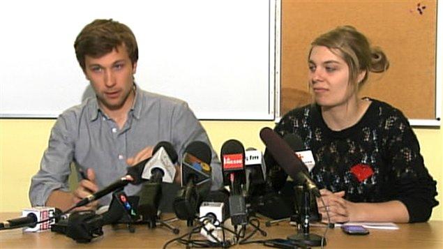 Les porte-parole de la CLASSE, Gabriel Nadeau-Dubois et Jeanne Reynolds.