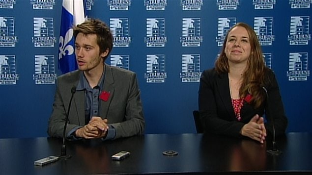 Léo Bureau-Blouin, président de la FECQ, et Martine Desjardins, présidente de la FEUQ.