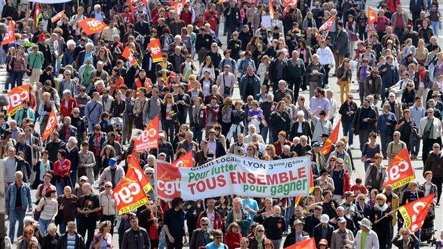 Marche du premier mai à Lyon.