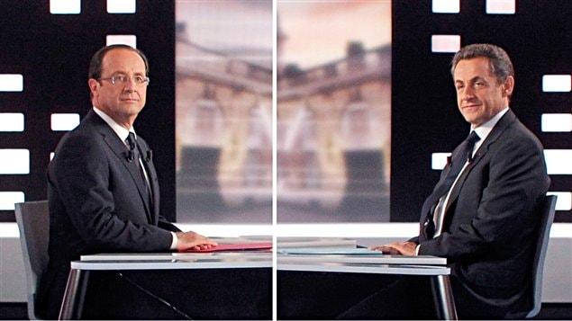 François Hollande et Nicolas Sarkozy sur le plateau du débat.