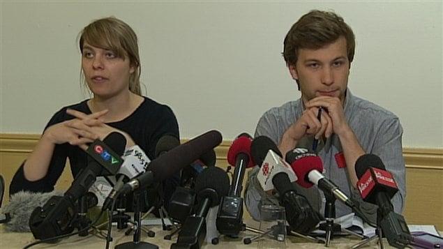 Les porte-parole de la CLASSE, Jeanne Reynolds et Gabriel Nadeau-Dubois
