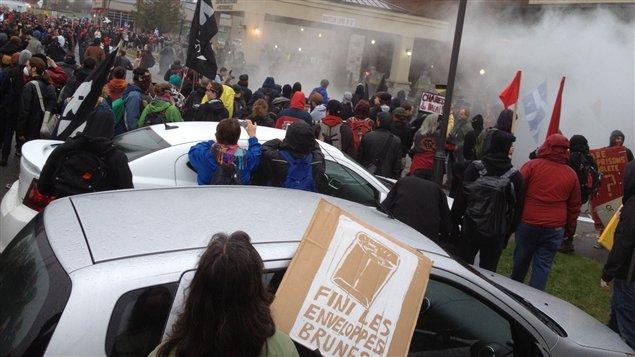 Des gaz ont été utilisés lors de la manifestation à Victoriaville