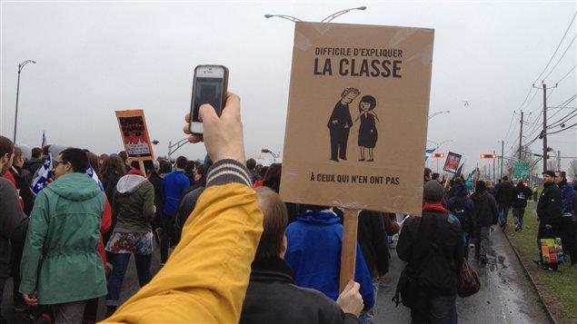 Une pancarte de la CLASSE lors de la manifestation à Victoriaville