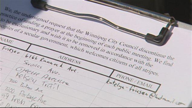 Le libellé de la pétition réclamant l'abolition de la prière au conseil municipal de Winnipeg