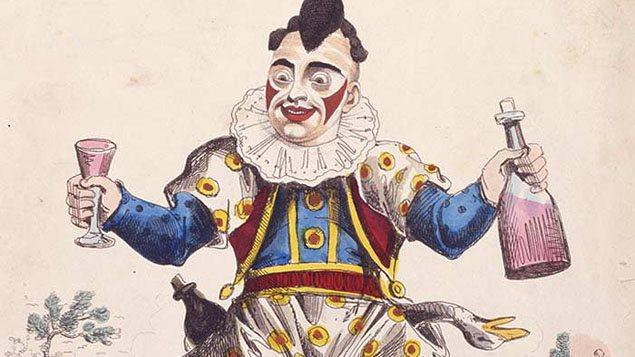 Détail d'une illustration représentant le père des clowns, Joseph Grimaldi