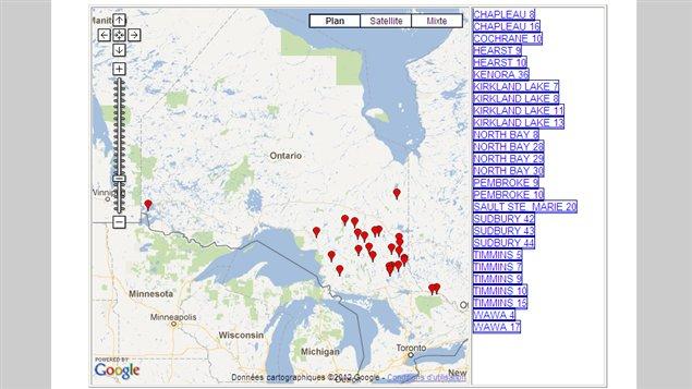 Carte des incendies de forêt en activité, jeudi