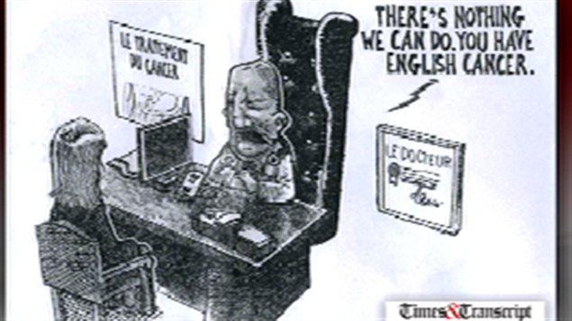 La caricature du journal Times & Transcript qui soulève la colère.