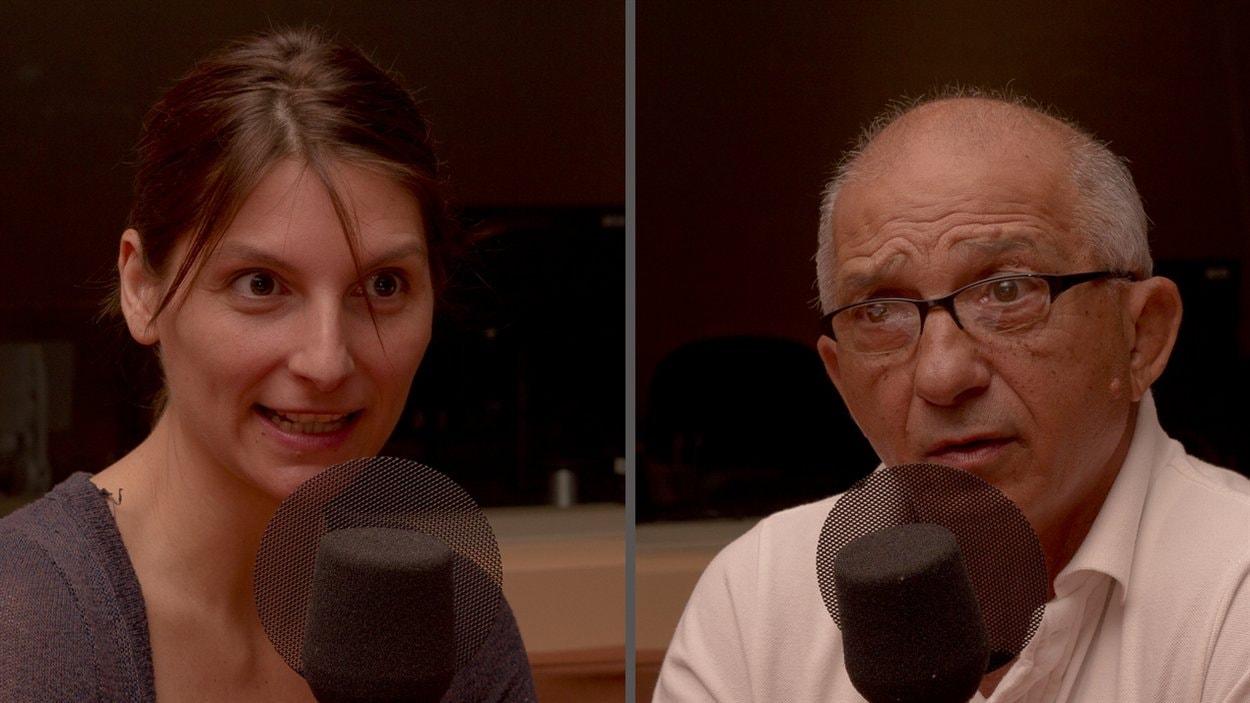 ©Radio-Canada/Olivier Lalande | <b>L'escrimeuse Sandra Sassine et son père et entraîneur, Henri Sassine</b>