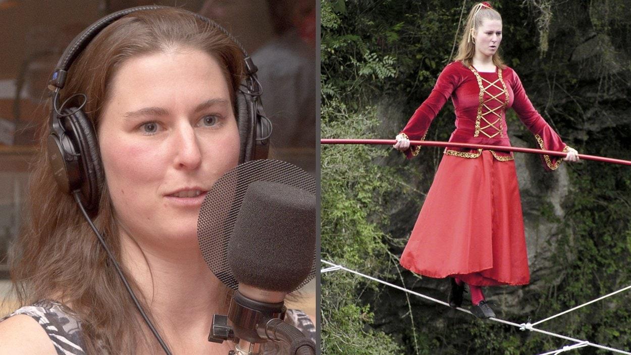 ©Radio-Canada/Olivier Lalande | <b>La funambule Catherine Léger, au micro et en action</b>