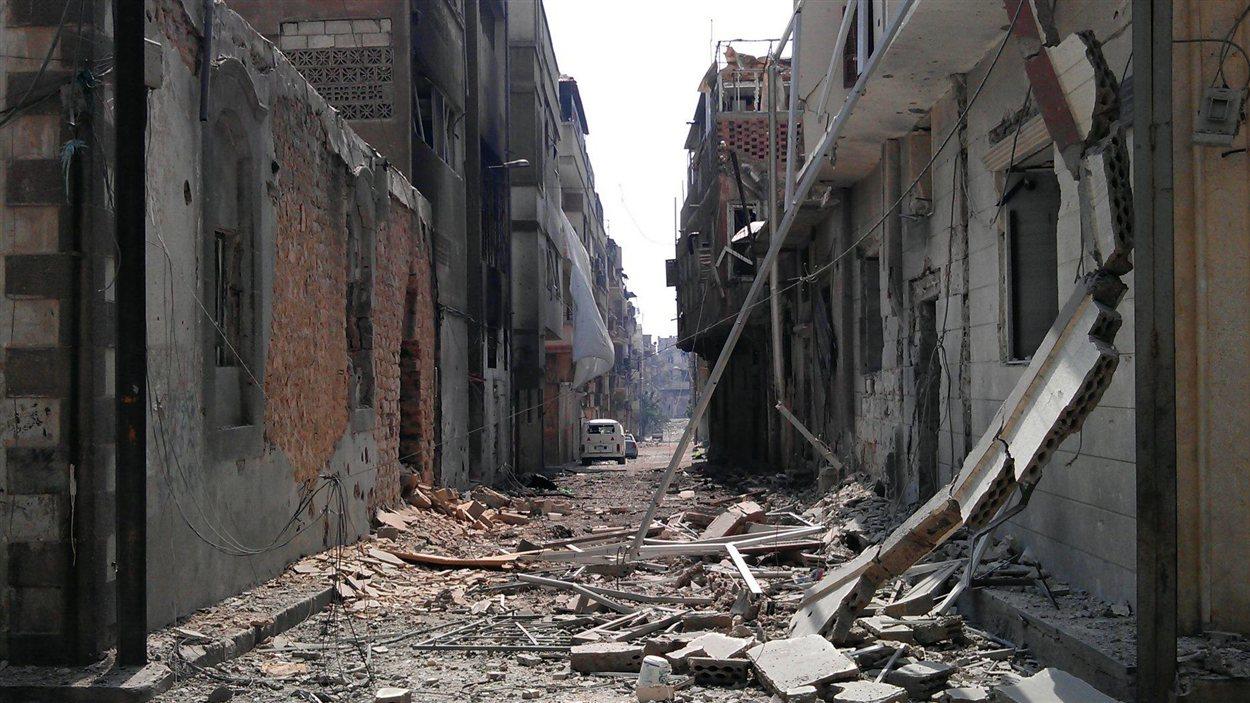 Un quartier de Homs, où s'affrontent les rebelles et l'armée syrienne