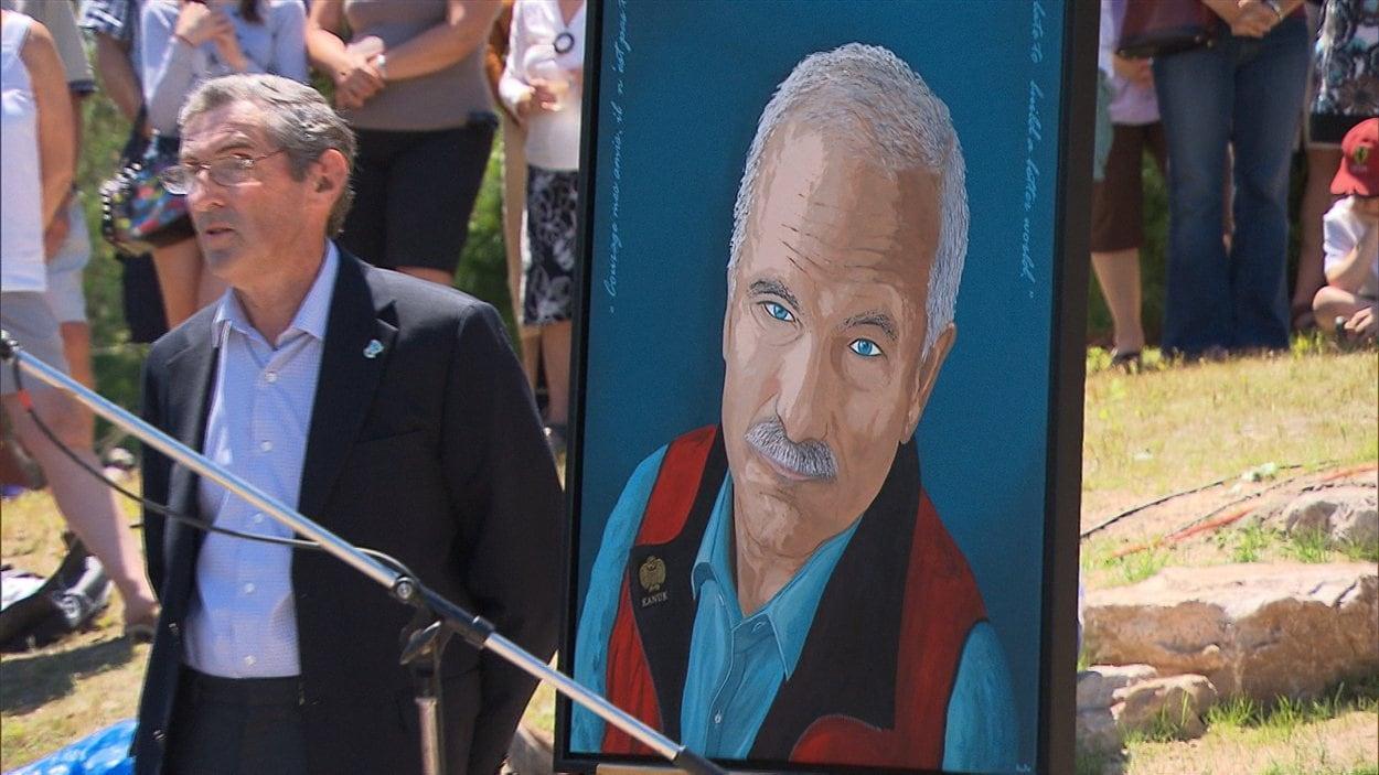 Une peinture de Jack Layton réalisée pour l'inauguration du parc qui portera son nom