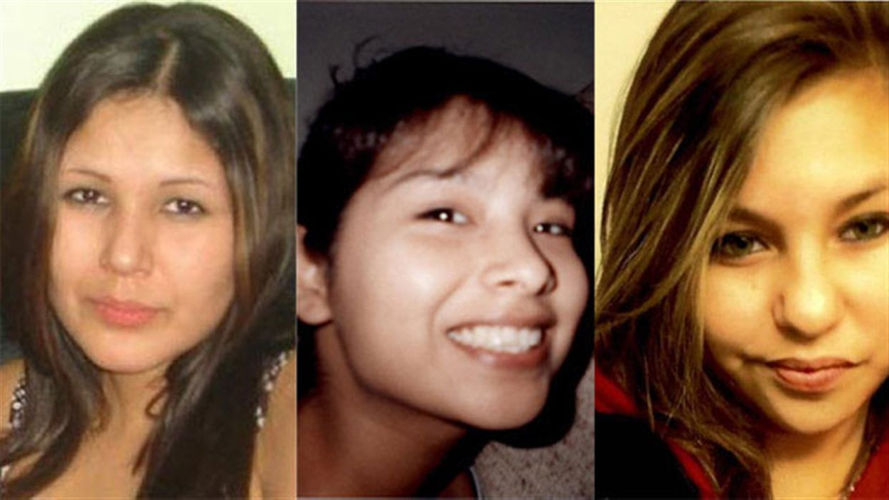 Les présumés victimes de Shawn Lamb, de gauche à droite : Carolyn Sinclair, Tanya Jane Nepinak et Lorna Blacksmith