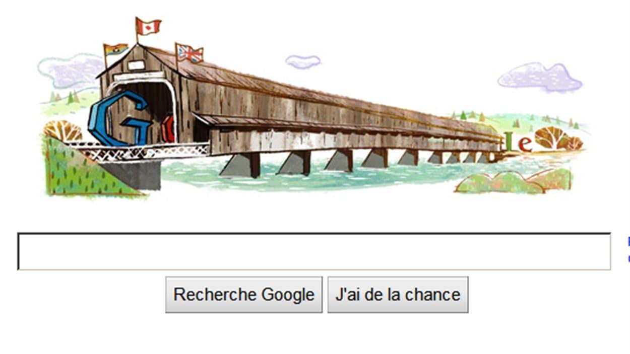 Le 111e anniversaire du pont couvert Hartland est souligné sur la page d'accueil de Google, au Canada.
