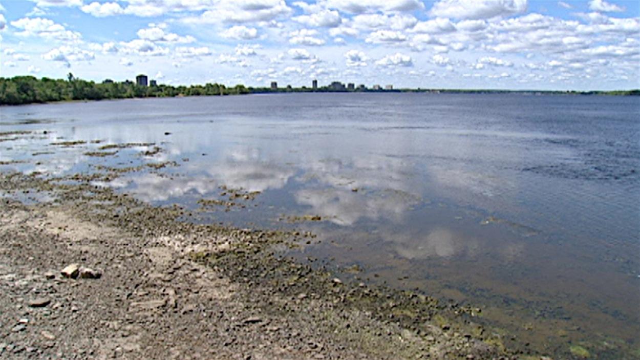 Le niveau de la rivière des Outaouais est bas, en raison de la sécheresse (été 2012).