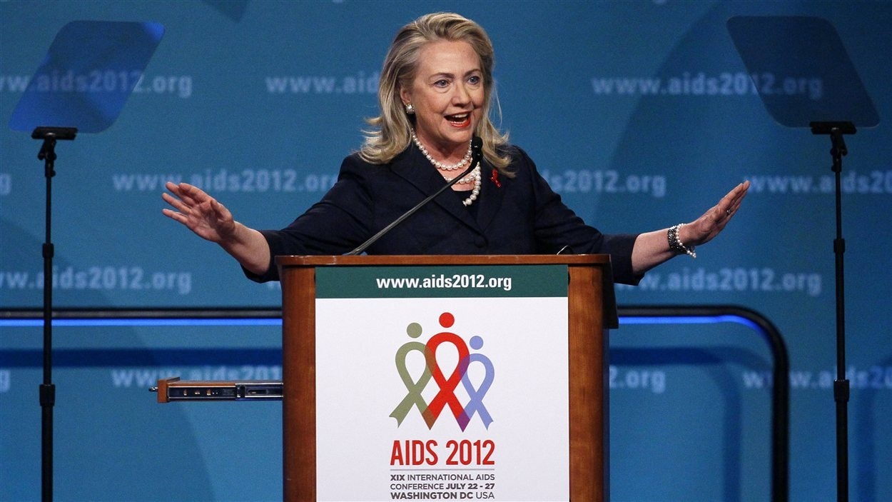 La secrétaire d'État américaine, Hillary Clinton, à la 19e conférence internationale sur le sida à Washington, lundi
