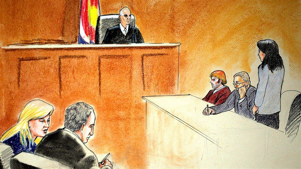 Un croquis judiciaire de James Holmes (troisième depuis la droite) lors de sa comparution