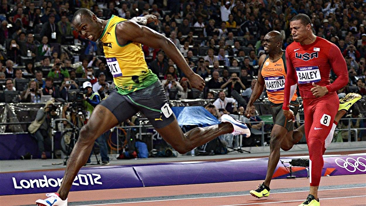 Usain Bolt à l'arrivée