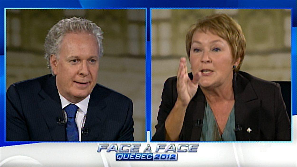 Jean Charest et Pauline Marois en débat à TVA