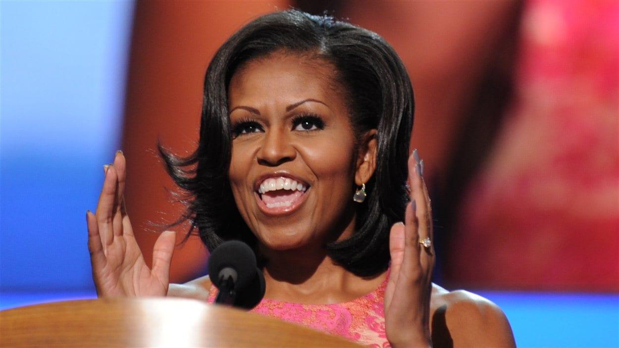 La première dame Michelle Obama a pris la parole lors de la convention du Parti démocrate le 4 septembre 2012, à Charlotte, en Caroline du Nord.