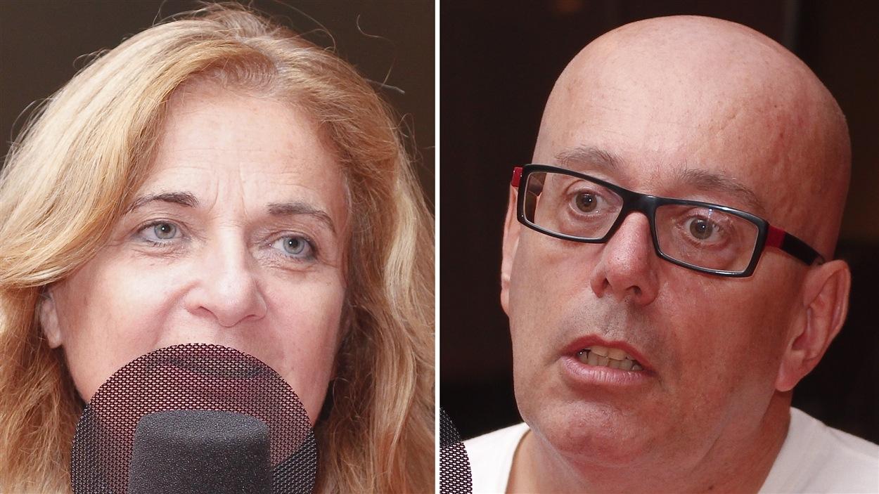 ©Radio-Canada/Olivier Lalande | <b>La journaliste Nathalie Petrowski et Éric Darier, responsable de campagne en agriculture et OGM à Greenpeace international</b>