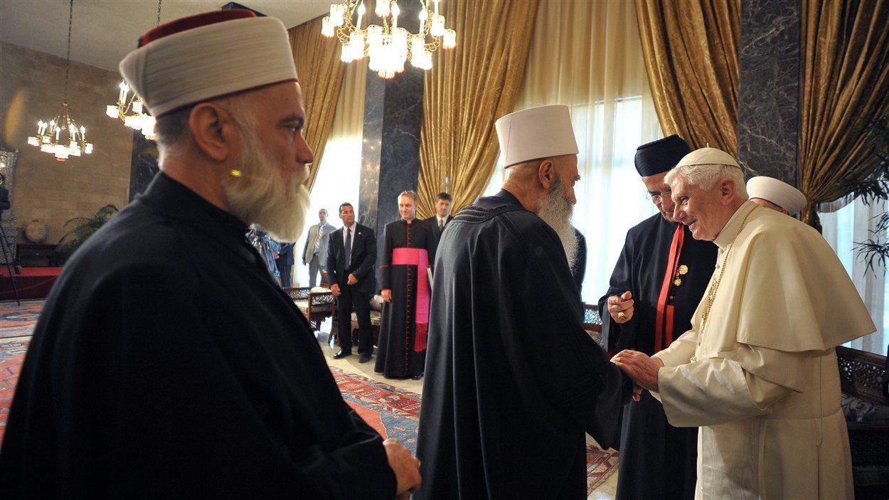 Benoît XVI rencontre des dirigeants religieux au palais présidentiel de Baabda près de Beyrouth, au Liban.