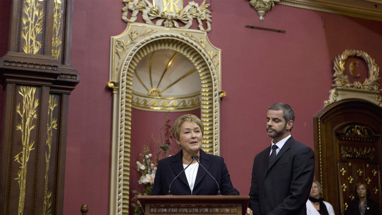 La chef Pauline Marois à la cérémonie d'assermentation des députés péquistes.