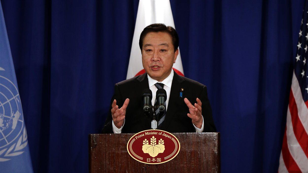 Le premier ministre japonais Yoshihiko Noda s'adresse aux journalistes lors d'une conférence de presse en marge de l'Assemblée générale de l'ONU.
