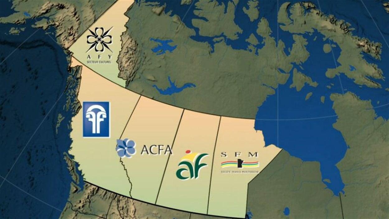 Carte des organismes de représentation des francophones au Manitoba, en Saskatchewan, en Alberta, en Colombie-Britannique et au Yukon.