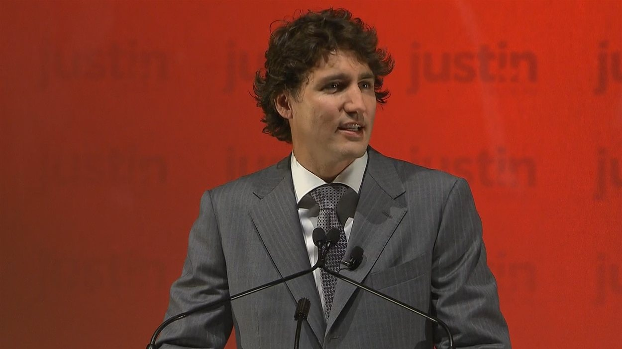 Justin Trudeau, lançant sa campagne.