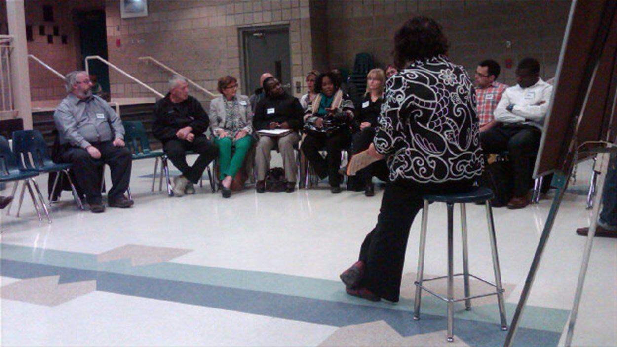 Consultation communautaire de l'Assemblée communautaire fransaskoise (ACF) au Carrefour des Plaines de Regina, le 3 octobre 2012.