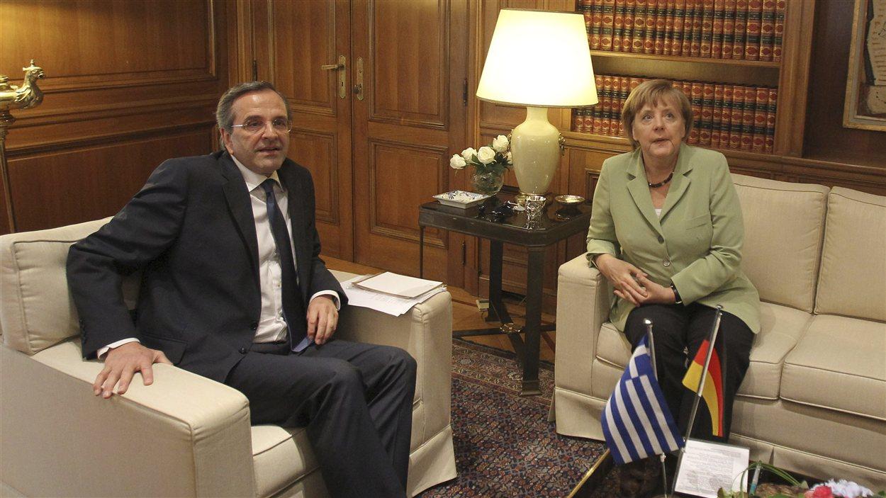 La chancelière allemande, Angela Merkel, et le premier ministre grec, Antonis Samaras
