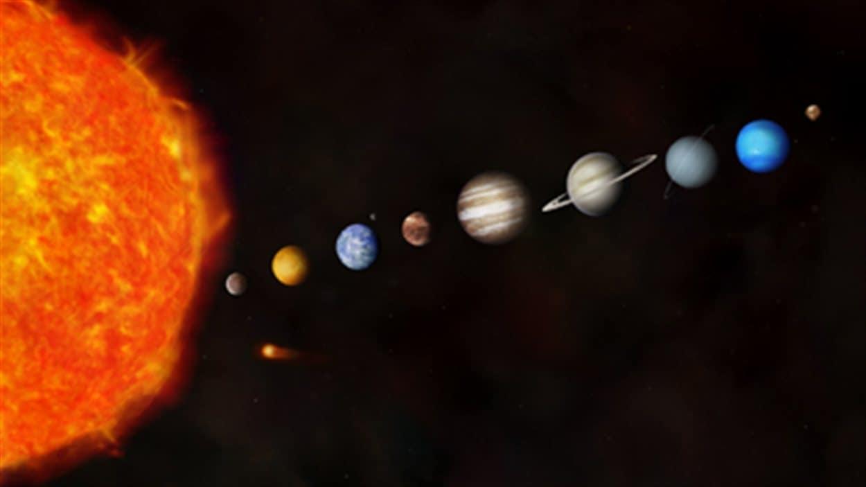 Impression artistique de notre système solaire. Cette représentation, où les distances entre les planètes ne sont pas respectées, a pour but de montrer la différence de taille entre les planètes.
