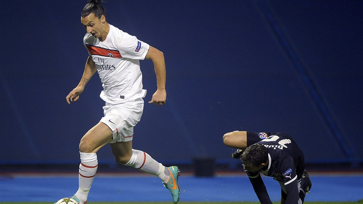 Zlatan Ibrahimovic du Paris Saint-Germain dans le match contre le Dinamo de Zagreb, terminé 2-0 pour le PSG