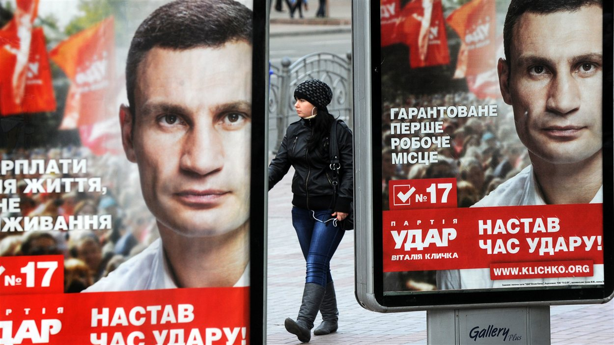 Affiche électorale du boxeur Vitali Klitschko, dirigeant d'un parti d'opposition