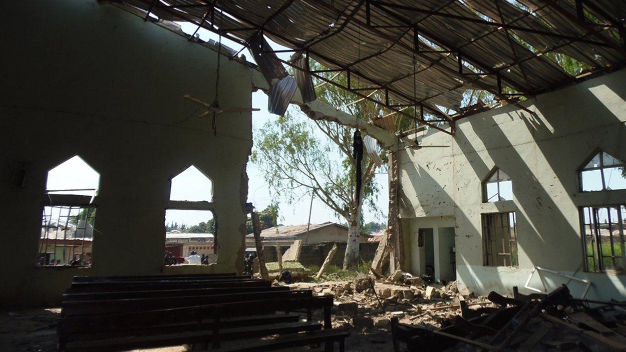 L'église de Kaduna, au Nigeria, où s'est fait exploser un kamikaze au volant d'un véhicule utilitaire sport.
