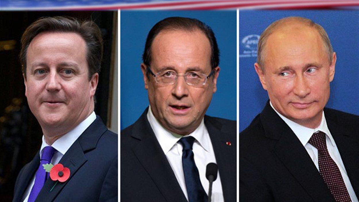 Le premier ministre britannique David Cameron, le président de la France François Hollande et le président russe Vladimir Poutine