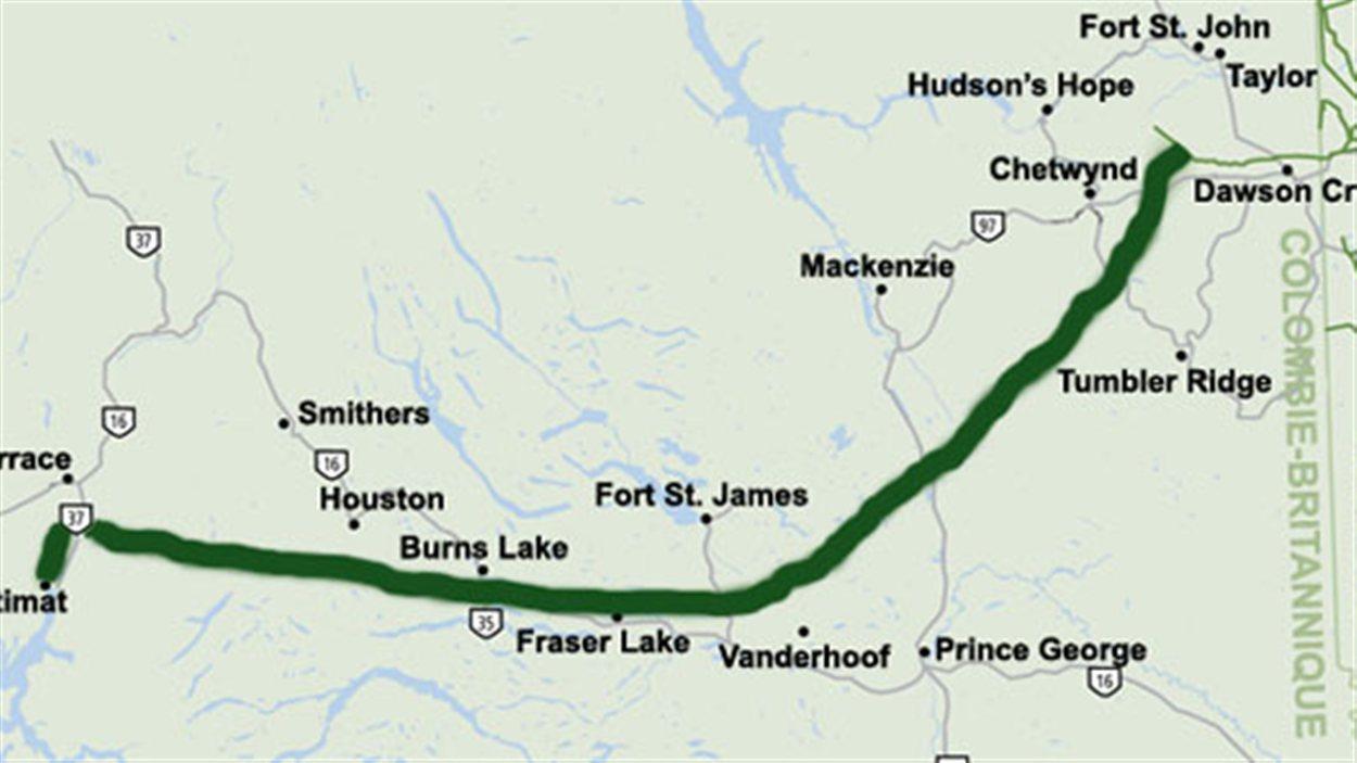 Le tracé du pipeline Coastal GasLink.