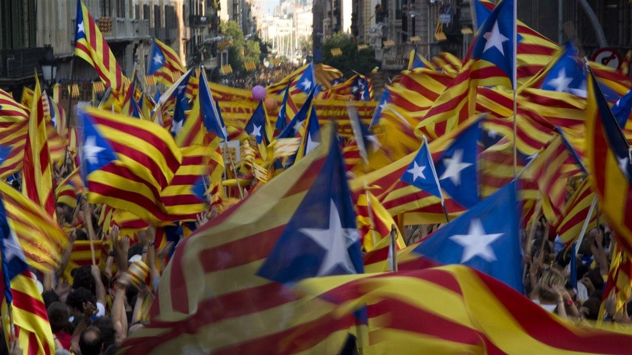Des partisans de l'indépendance de la Catalogne.