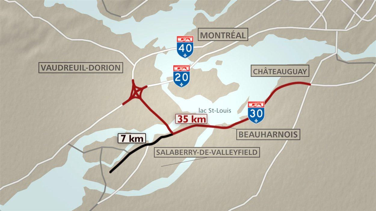 Le nouveau tronçon de la partie ouest de l'autoroute 30 s'étend sur 42 km.