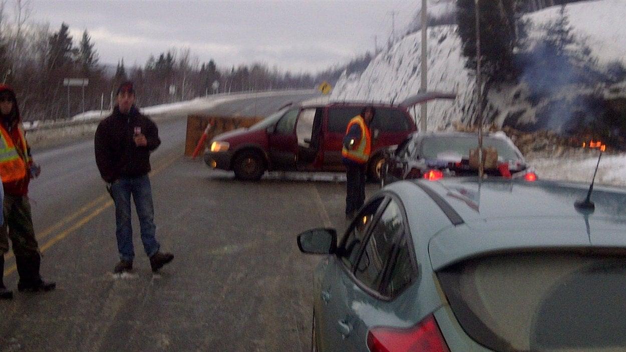 Barrage routier sur la route 132 à Listuguj