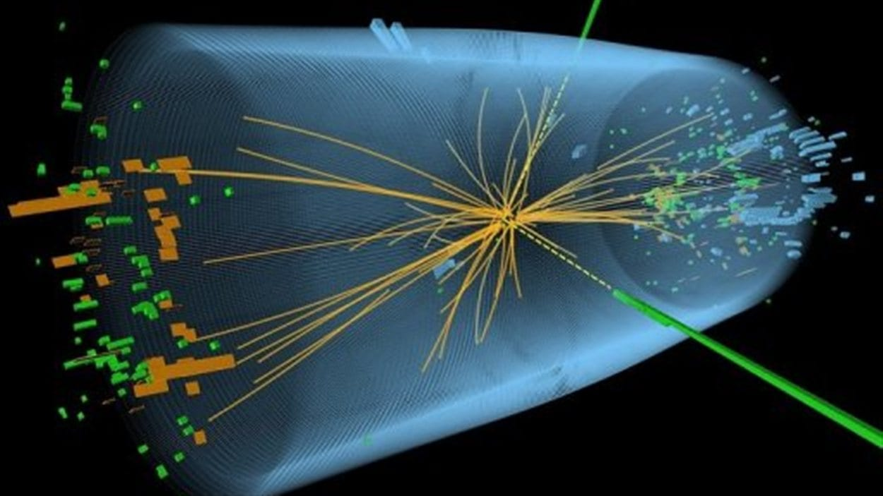 Représentation d'une expérience pour rechercher le boson de Higgs, diffusé par le CERN à Genève, le 4 juillet 2012.