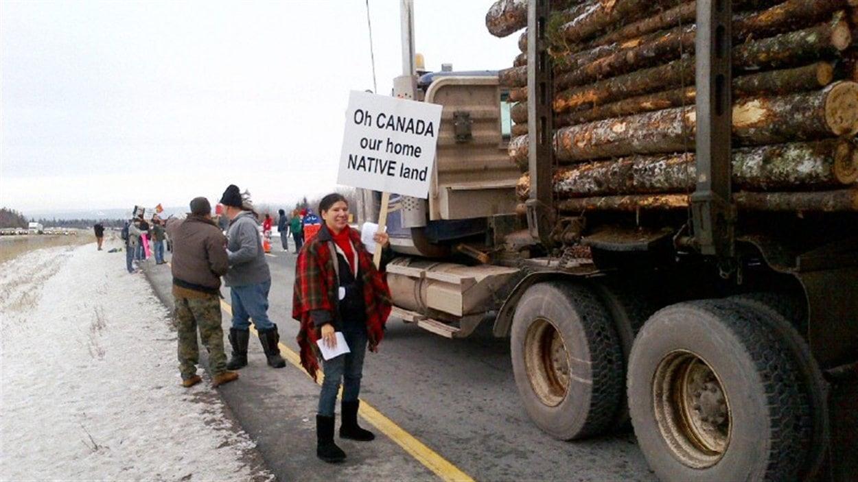 Manifestation d'Autochtones en Nouvelle-Écosse