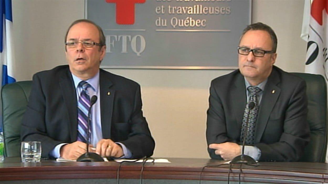 Le président et le secrétaire général de la FTQ, Michel Arsenault et Daniel Boyer