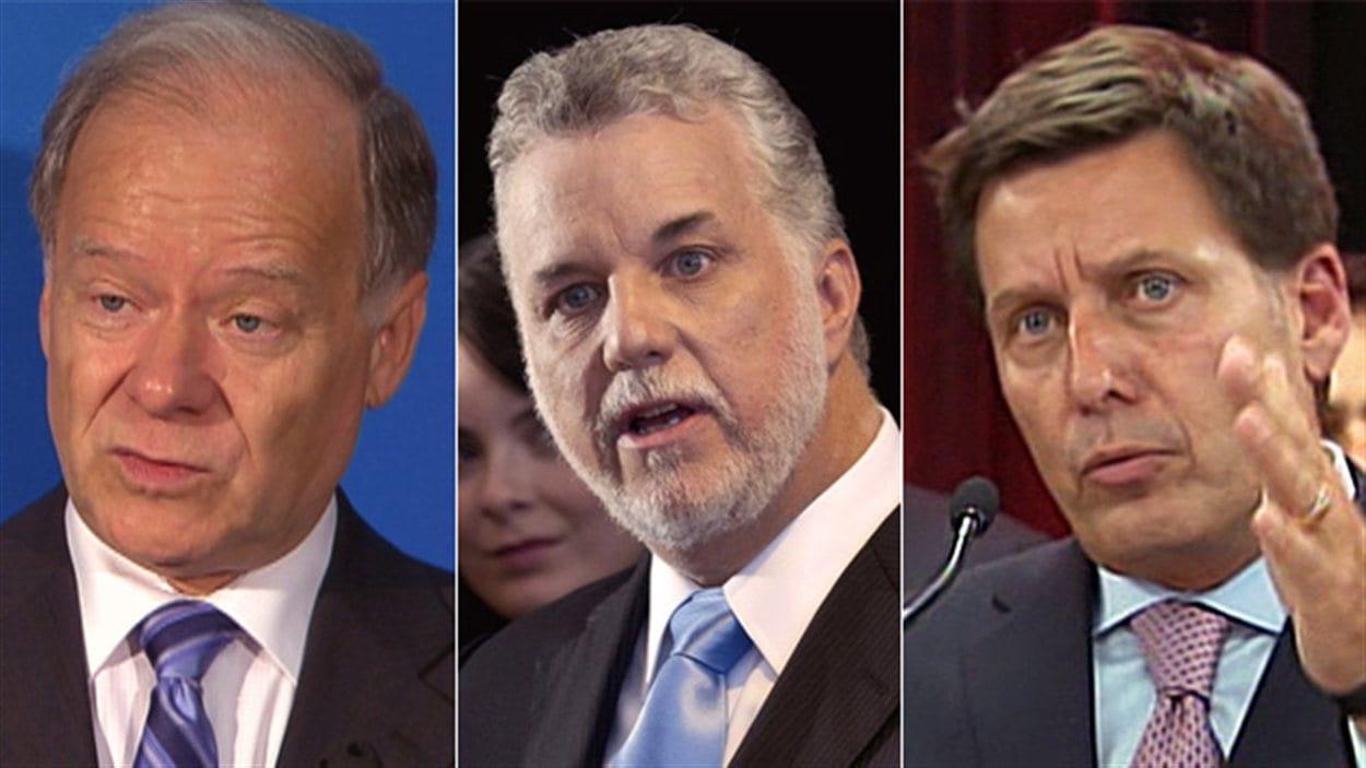 Raymond Bachand, Philippe Couillard et Pierre Moreau briguent la direction du Parti libéral du Québec.