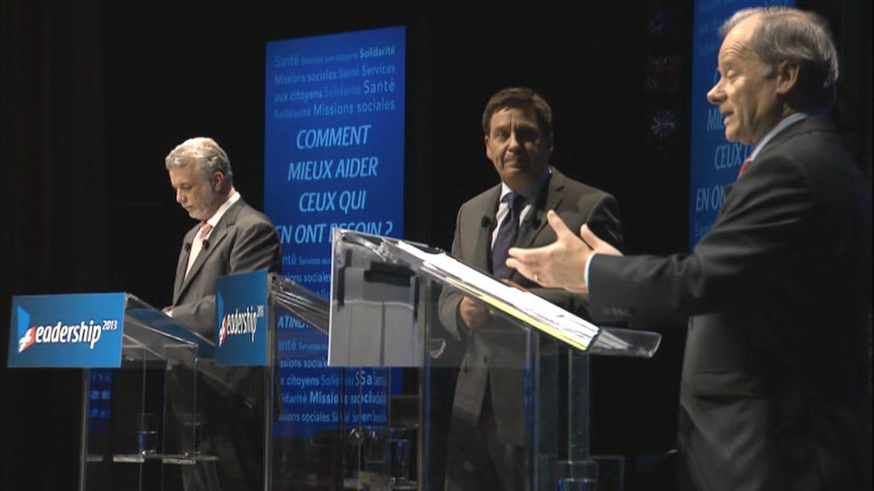 Les trois candidats à la direction du PLQ, réunis à Gatineau