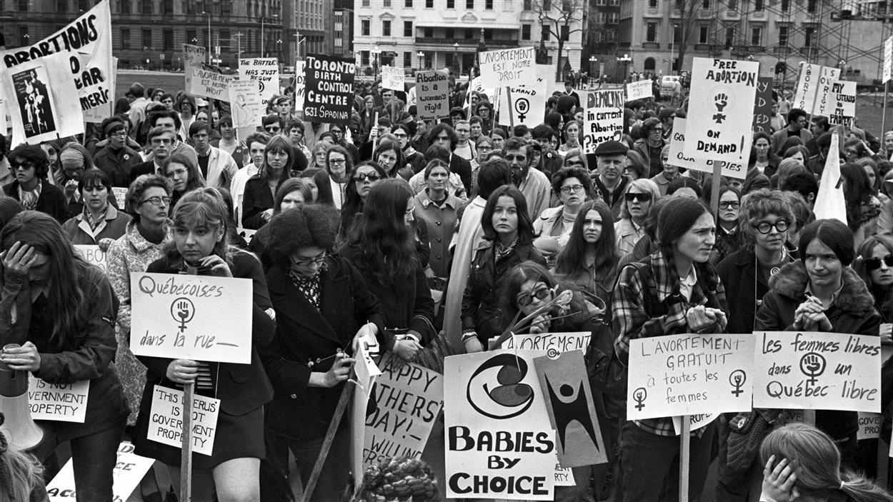 Manifestation pour l'avortement en 1970, à Ottawa