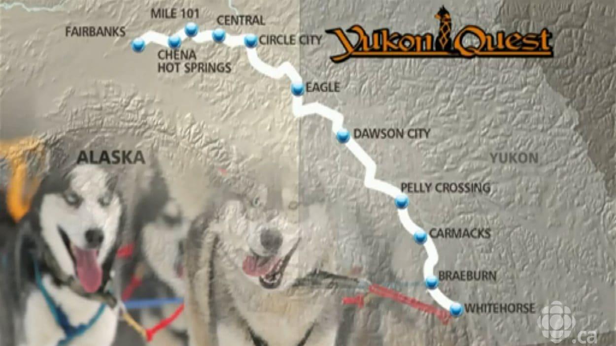 Carte de l'itinéraire que suivront les participants de la course internationale de traîneau à chiens Yukon Quest, de Whitehorse au Yukon jusqu'à Fairbanks, en Alaska.